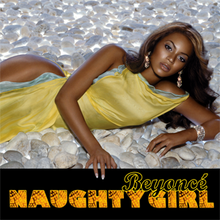 "A woman lies on a floor with many rocks. She wears a long yellow dress, diamond earrings, and a bracelet on her left wrist. Below the image, a black frame appears. On it, the words ""Beyoncé"" and ""Naughty Girl"" are written."