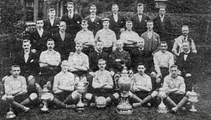 Bilston Town F.C. - Bilston players pictured in 1901 with the six trophies they won that season
