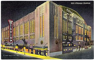 Chicago Stadium - Chicago Stadium at Night, 1950 Curteich Linen Postcard