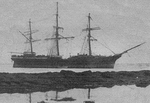 City of Adelaide (1864) -  City of Adelaide stranded on Kirkcaldy Beach in South Australia, in August 1874.