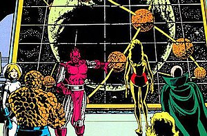 High Evolutionary - The High Evolutionary observing from his base within Counter-Earth's moon.