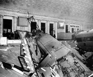 1953 Pennsylvania Railroad train wreck - The locomotive and first coaches penetrated into the station building.