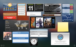 Dashboard (macOS) secondary desktop for hosting mini-applications known as widgets developed by Apple