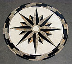 Floor medallions - Floor Medallion using stone intarsia (full thickness puzzle piece assembly)