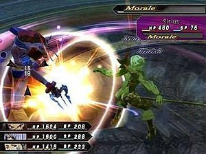 .hack//G.U. - The player's party, consisting of Haseo, Endrance, and Kuhn, is battling Sirius, another player. The pink color of Sirius' target box indicates that a Rengeki may be performed on him.