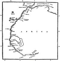 A map illustrating the voyage of Hanno the Navigator.