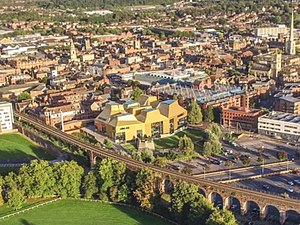 The Hive, Worcester - Aerial view of The Hive and surrounding landscape