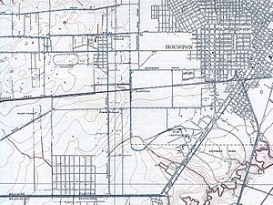 Buffalo Speedway - 1921 road map of Houston showing oval race track in approximate location of northern terminus of Buffalo Speedway.