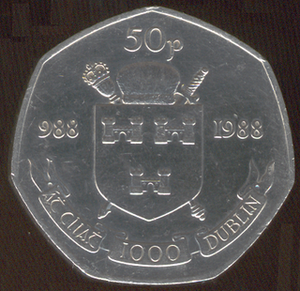 "History of Dublin - This ""Dublin Millennium"" fifty pence coin was minted in 1988, even though it was known that Dublin had existed for more than 1,000 years."
