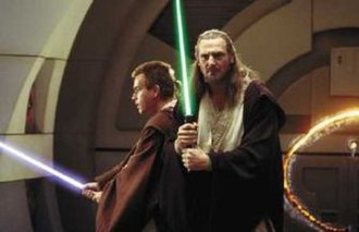 Jedi - Jedi characters Qui-Gon Jinn (Liam Neeson, right) and Obi-Wan Kenobi (Ewan McGregor, left) in the 1999 film Star Wars: Episode I – The Phantom Menace