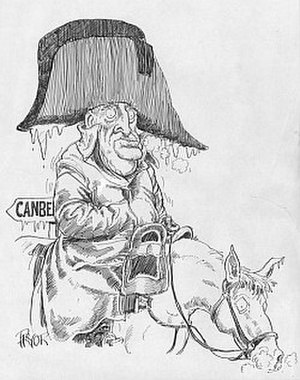 Joh for Canberra - A political cartoon compares Bjelke-Petersen to Napoleon in his march on Moscow.