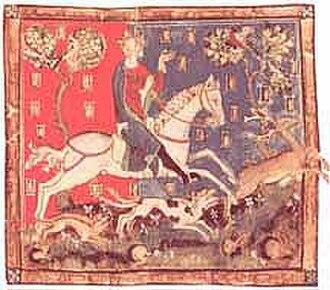 Larmer Tree Gardens - King John deer hunting, from a manuscript in the British Library.