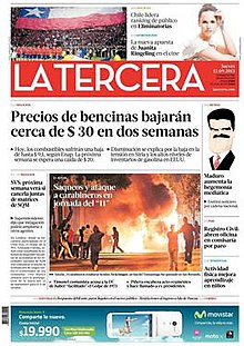 Front page of La Tercera '​s 12 September 2013 edition.