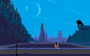 Another World (video game) - The first level of the Sega Genesis version, with Lester climbing out of the pond into which he has been teleported.