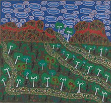 An acrylic painting showing a stylised blue sky with clouds, red hills, and trees and other vegetation interspersed by waterbeds