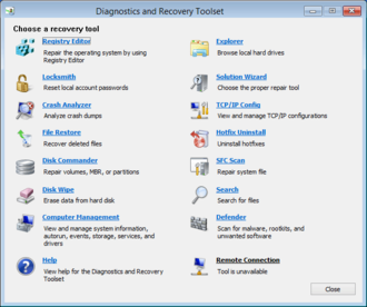 Microsoft Desktop Optimization Pack - Screenshot of Microsoft Diagnostics and Recovery Toolset, one of the components of this software suite