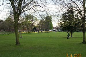 Norwood Green - Norwood Green's green (springtime, SW corner )