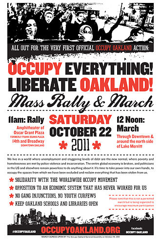 Occupy Oakland - Occupy Oakland poster announcing the October 22 March.