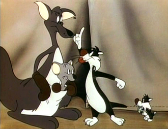 Robert McKimson - A still from the 1950 Hippety Hopper/Sylvester short Pop 'im Pop!. This cartoon also introduced Sylvester's son, Sylvester Junior.