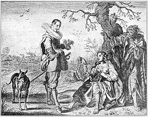 La gitanilla - Don Juan en Constançe (Proef-steen van den Trou-ringh, 1636)  A. Mattham naar Adriaen van de Venne