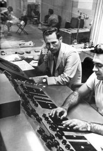 Chet Atkins - Atkins listening as Bill Porter adjusts a mix in RCA's Nashville studio