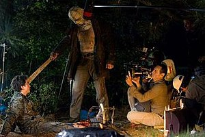 Friday the 13th (2009 film) - Mears being filmed performing the killing of Ben Feldman's character. Asylum digitally created the rest of the machete to show it being pulled away from Feldman's face.