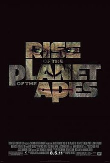 The poster says the title of the film on a black background with one of the apes' faces filling the letters. This also includes release information and credits.