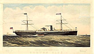 American President Lines - SS Golden City, one of the company's ships in the late 1860s.