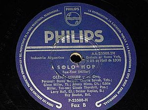 Solo Hop - Philips 78, P-23588-H, released in Argentina.