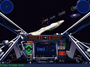 Star Wars: X-Wing - TIE bombers fly toward a Mon Calamari Star Cruiser in the 1998 release. This version updated the game engine to that used by X-Wing vs. TIE Fighter, introducing 3D-accelerated graphics and higher-resolution cockpits. The game also replaced the dynamic MIDI soundtrack with looped audio of John Williams' orchestral ''Star Wars'' music.