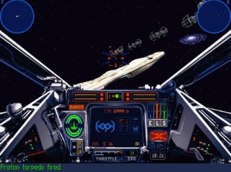 Star Wars: X-Wing - TIE bombers fly toward a Mon Calamari Star Cruiser in the 1998 release. This version updated the game engine to that used by X-Wing vs. TIE Fighter, introducing 3D-accelerated graphics and higher-resolution cockpits. The game also replaced the dynamic MIDI soundtrack with looped audio of John Williams' orchestral Star Wars music.