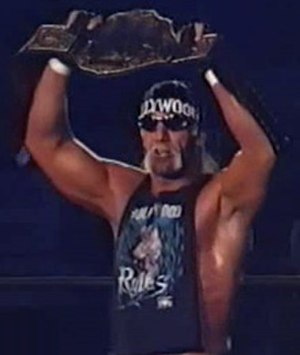 Starrcade (1997) - Hollywood Hogan, the WCW World Heavyweight Champion, before his match at Starrcade