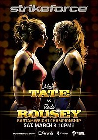 A poster or logo for Strikeforce: Tate vs. Rousey.