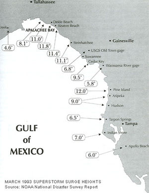 1993 Storm of the Century - NOAA estimate of storm surges along Florida's Gulf Coast, March 13, 1993