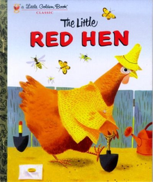 An illustrated hen wearing a shirt and hat uses a shovel to dig a hole.