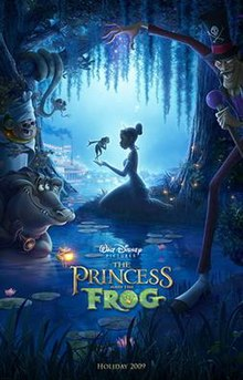 Cartoon image of a woman kneeling in the Louisiana bayou in a princess costume with a frog in her hand, as a voodoo priestess, a witchdoctor, a firefly, an alligator, and a snake, look on.