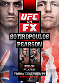 A poster or logo for UFC on FX: Sotiropoulos vs. Pearson.