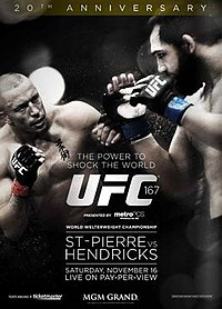 A poster or logo for UFC 167: St-Pierre vs. Hendricks.