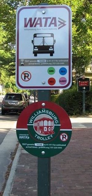 Williamsburg Area Transit Authority - A WATA Bus and Trolley sign, with information to locate the next bus.