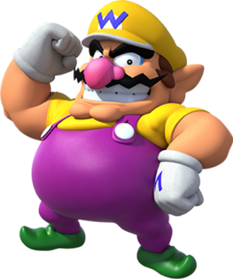 Wario - Wario, as seen in promotional artwork for Super Mario Party
