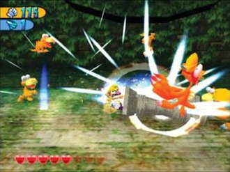 Wario World - Wario fighting enemies