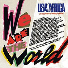 "An album cover with ""We Are the World"" spelled out across the left and bottom in papier-mâché-style. To the top right of the cover is ""USA for Africa"" in blue text, under which names are listed against a white background."