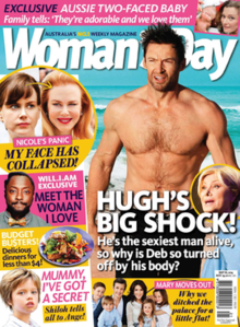 A front cover of Woman's Day from May 2014, featuring Hugh Jackman on the cover