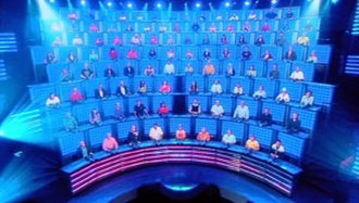 1 vs. 100 (Australian game show) - A view of the three-story high panel for the 100 members of the mob.