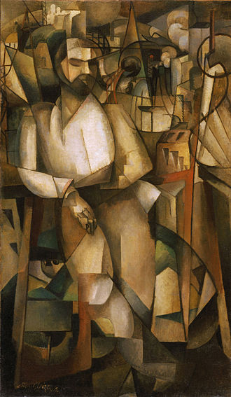 "1912 in art - Albert Gleizes, 1912, l'Homme au Balcon, Man on a Balcony (Portrait of Dr. Théo Morinaud), oil on canvas, 195.6 x 114.9 cm (77 x 45 1/4 in.), Philadelphia Museum of Art. Completed the same year that the painter co-authors the book Du ""Cubisme"" with Jean Metzinger. Exhibited at Salon d'Automne, Paris, 1912, Armory show, New York, Chicago, Boston, 1913"