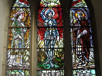 Archangel - Gabriel, Michael and Raphael, depicted in stained glass in St Ailbe's Church, a Catholic church in Ireland