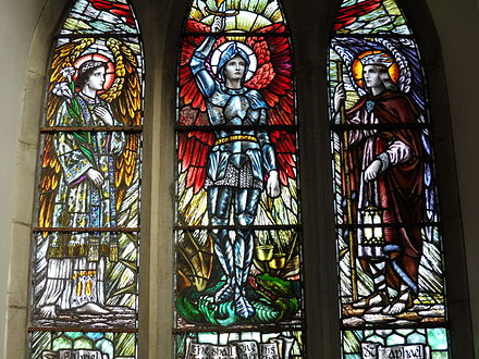 Gabriel, Michael and Raphael, depicted in stained glass in St Ailbe's Church, a Catholic church in Ireland Archangels in Emly.jpg