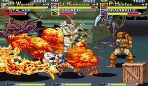 Alien vs. Predator (arcade game) - Gameplay screenshot featuring Warrior, Hunter, and Kurosawa