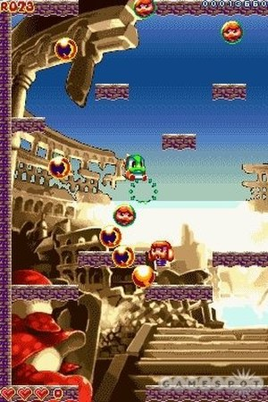 Bubble Bobble Revolution - Typical gameplay screenshot in Bubble Bobble Revolution.