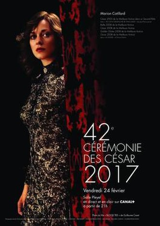 42nd César Awards - Official poster featuring a picture of Marion Cotillard in the 2013 film Blood Ties